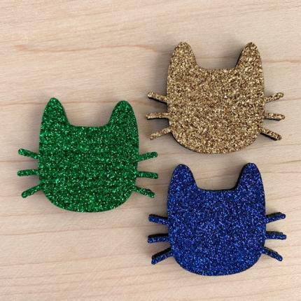 Broche paillettes CHAT MOUSTACHES