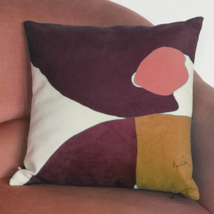 "Housse de coussin velours ""Abstraction, tache prune"""