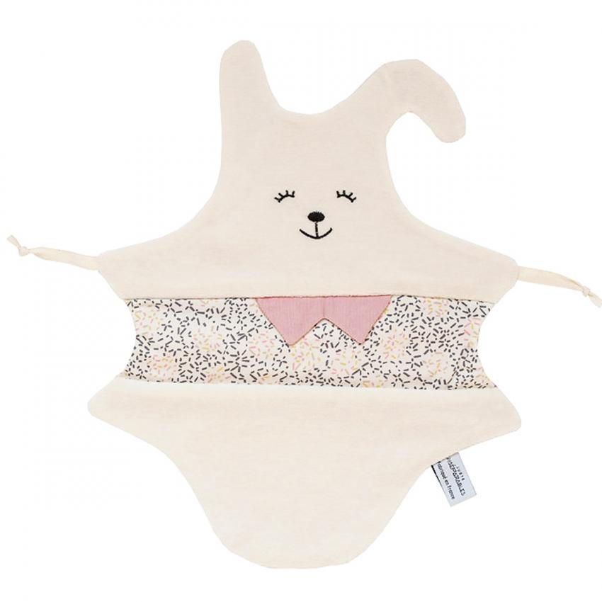 Doudou Lapin Rose - Made in France, 100% coton Juste Inséparables - marketplace MyMarchy